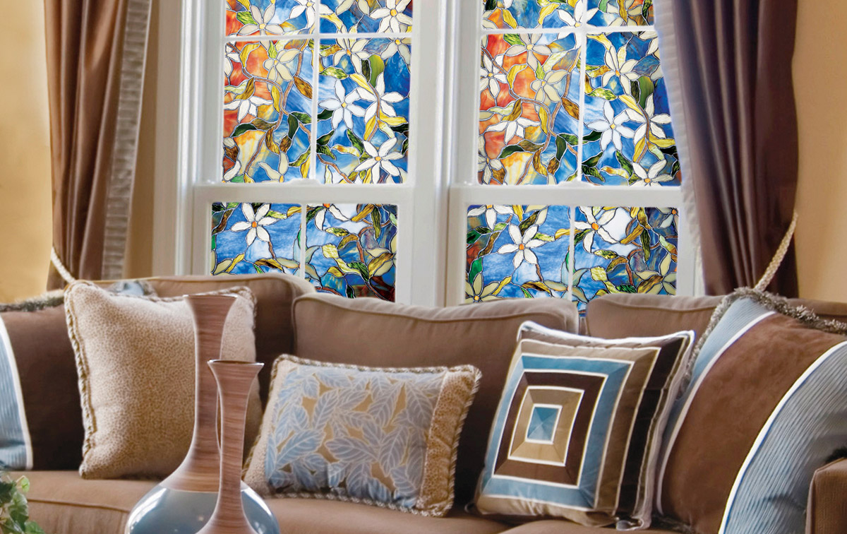 Awesome Window With Floral Artscape Window Film Plus Tan Sofa Set For Living Room Decor Ideas