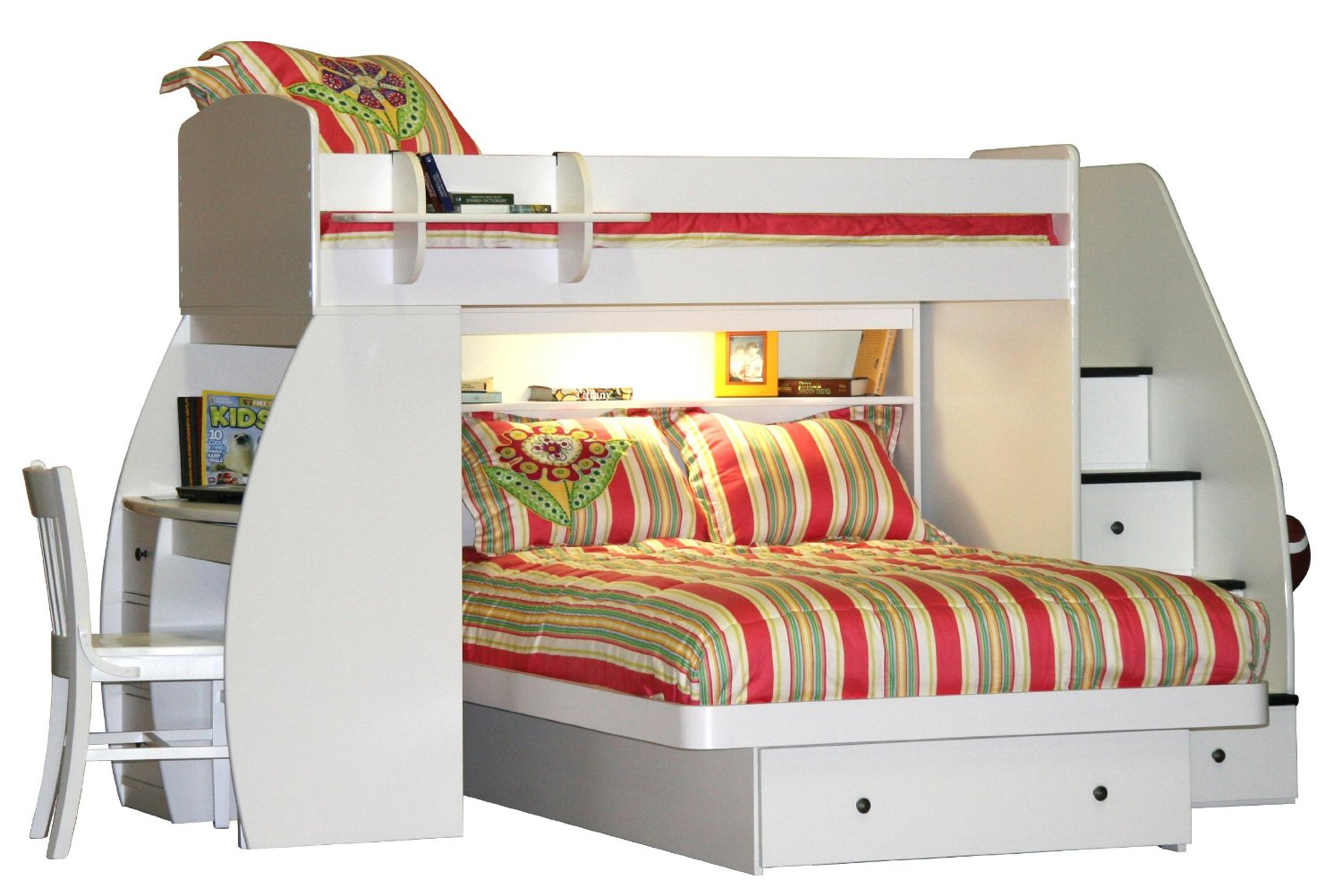 awesome wood Bunk Beds With Stairs in white with stripped bedding set for teen bedroom decor ideas