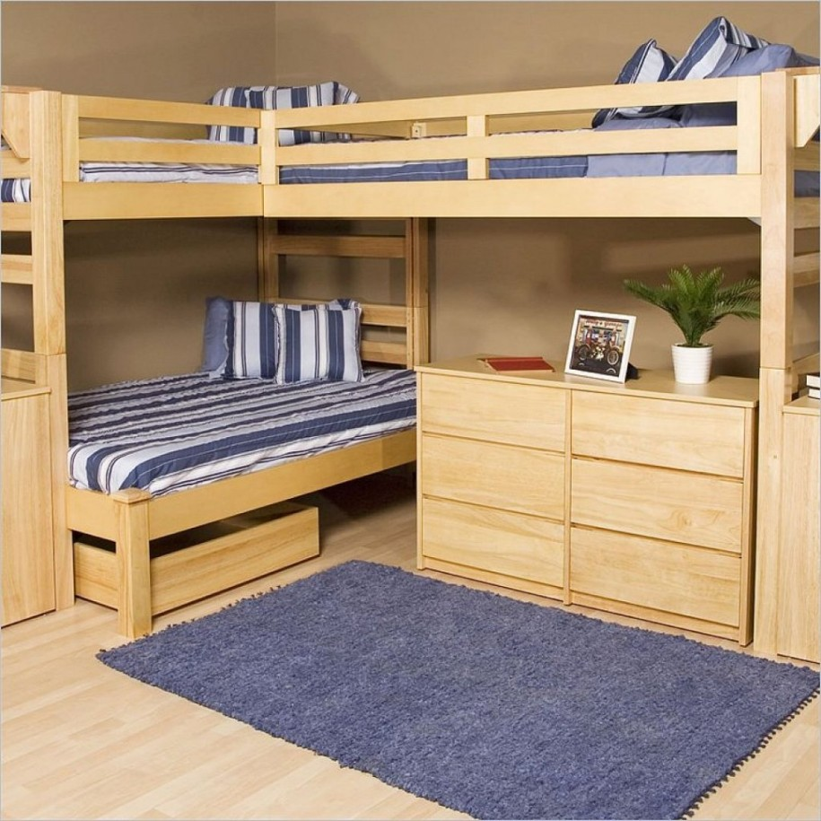 awesome wood loft beds for teenagers with stripped bedding plus drawers on wooden floor with blue rug matched with tan wall for cool bedroom decor ideas