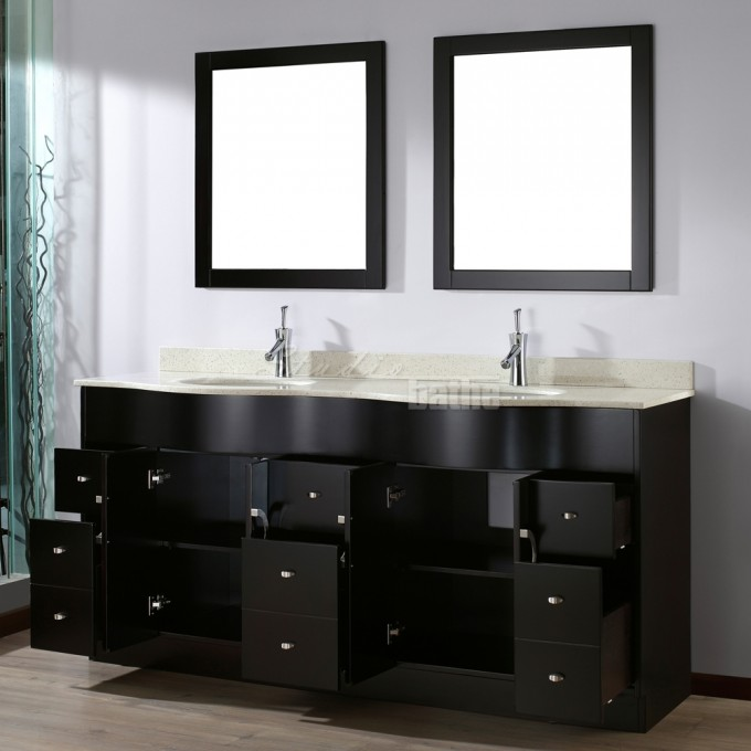 Awesome Wooden Bathroom Bertch Cabinets In Black With Granite Countertop And Double Sinks Plus Faucets For Bathroom Furniture Ideas
