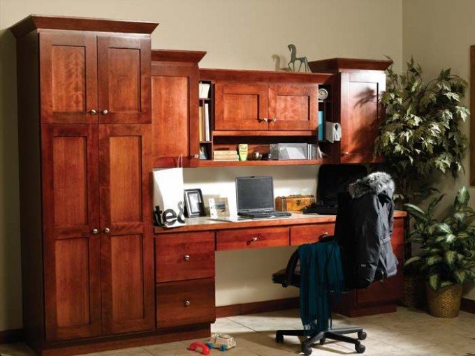 Awesome Wooden Bertch Cabinets With Drawers And Chair On White Tile Floor Matched With White Wall For Home Office Decor Ideas