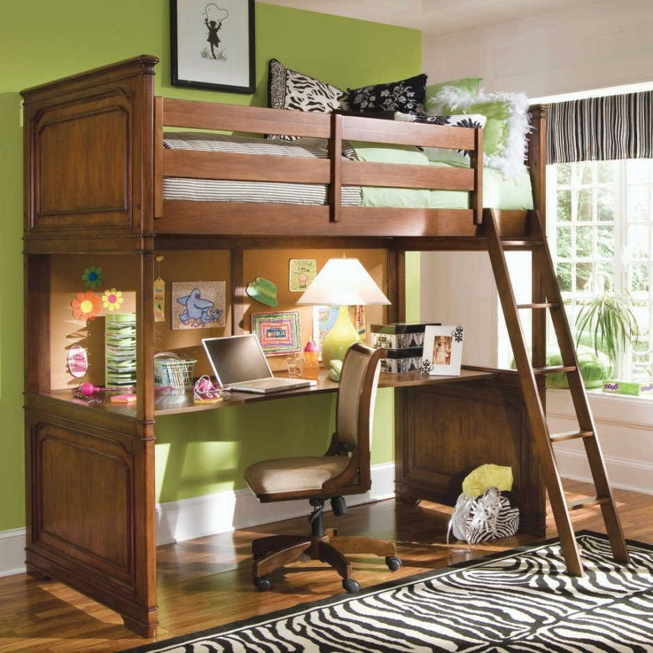 Awesome wooden loft beds for teenagers with stair and desk on wooden floor with zebra pattern rug matched with green wall for teenager room decor ideas