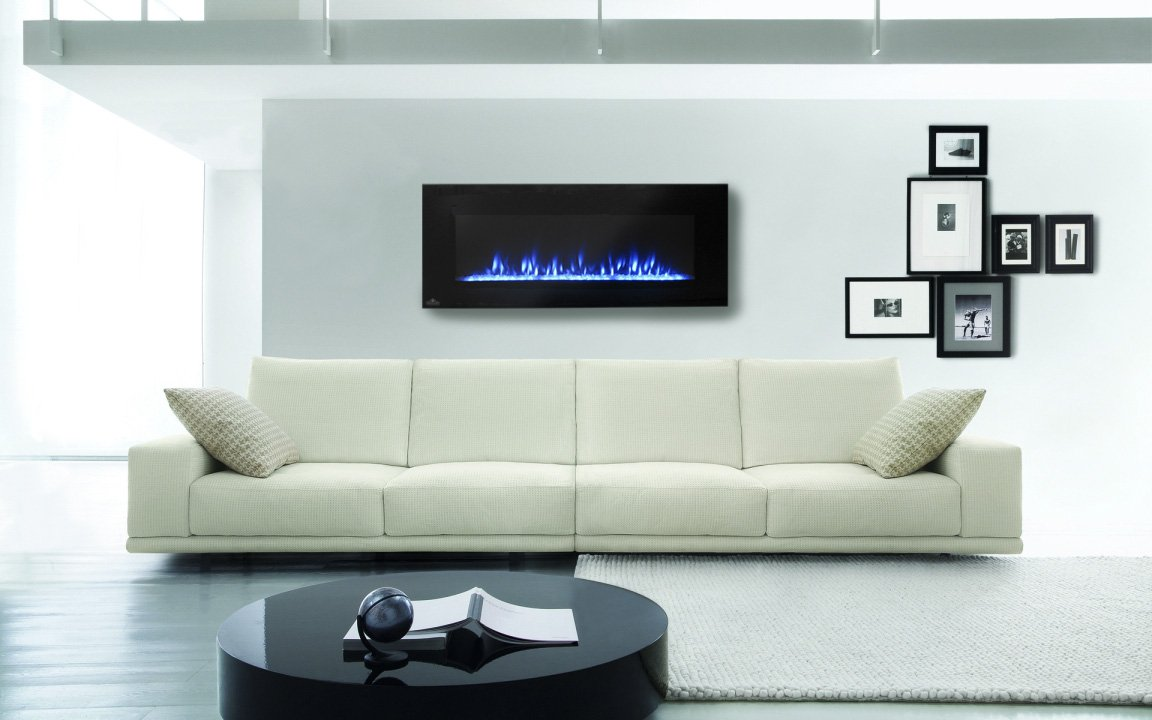 Azure Linear Wall Mount Electric Fireplace EFL42 napoleon fireplace on white wall plus white sofa for family room decor ideas