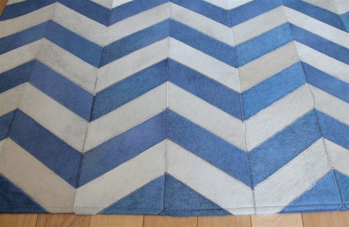 Beautiful Cowhide Patchwork Rug In Blue And White With Zigzag Motif For Floor Decor Ideas
