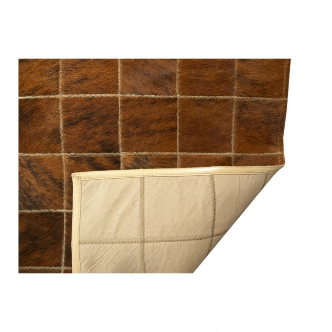Beautiful Cowhide Patchwork Rug In Brown Walnut With Checked Motif For Floor Decor Ideas