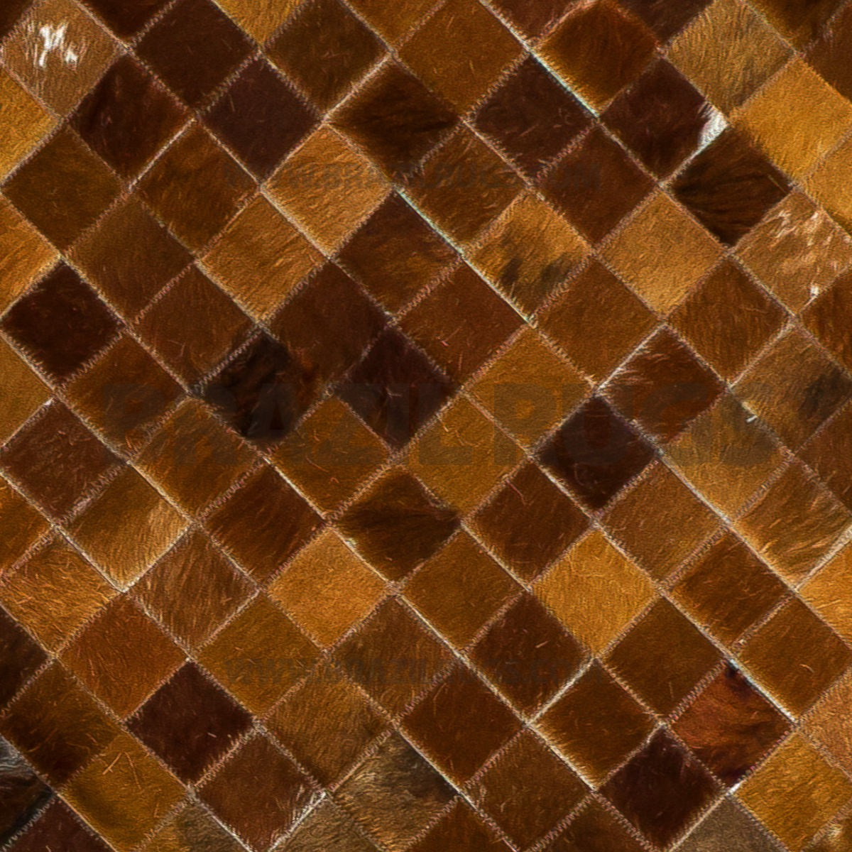 beautiful cowhide patchwork rug in Brown with checked motif for floor decor ideas