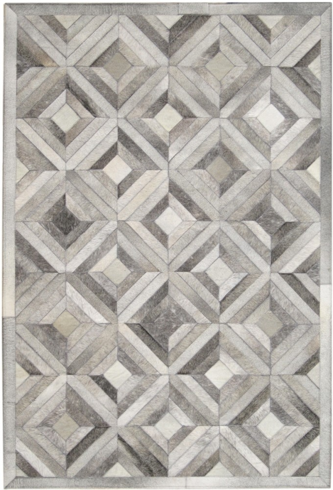 Beautiful Cowhide Patchwork Rug In Grey With Geometric Diamond Pattern For Floor Decor Ideas