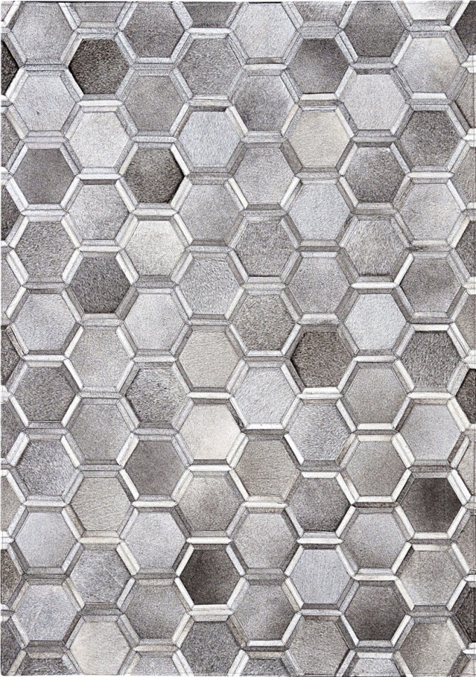 Beautiful Cowhide Patchwork Rug In Grey With Geometric Hexagon Motif For Floor Decor Ideas