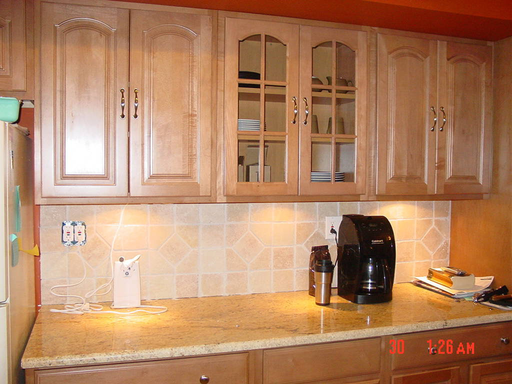 Beautiful Kitchen American Woodmark Cabinets In Beige With Tile Backsplash And Granite Countertop For Kitchen Decor Ideas