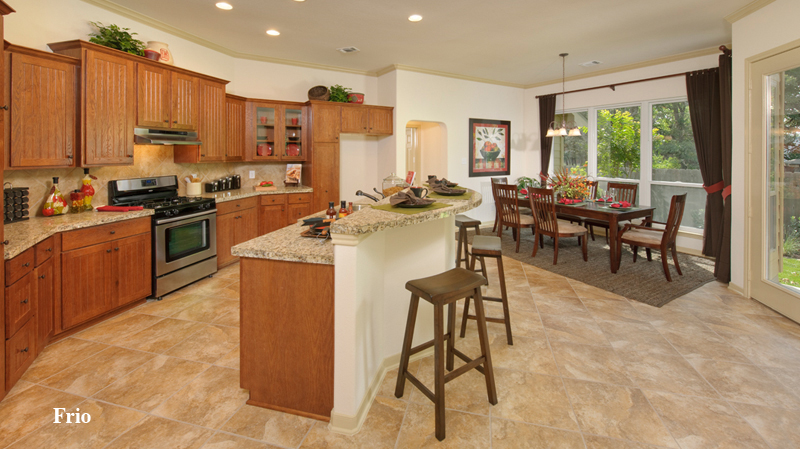 beautiful tilson homes kitchen design with brown wooden kitchen cabinet on beige tile floor plus dining table set ideas