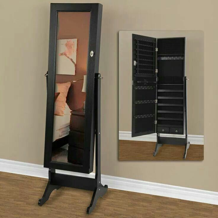 beautiful wooden standing mirror jewelry armoire in black before the gray wall for living room decor ideas