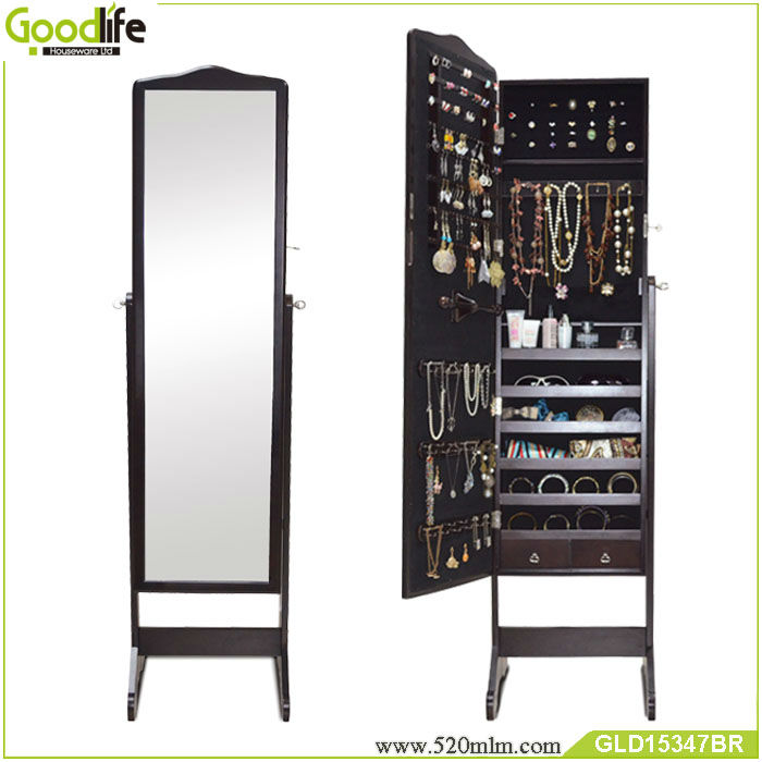 beautiful wooden standing mirror jewelry armoire in dark brown for home decor ideas