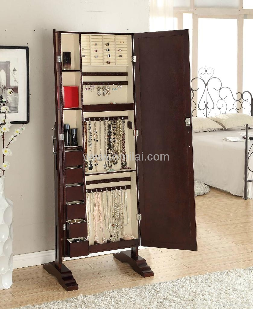 Beautiful Wooden Standing Mirror Jewelry Armoire In Dark Brown On Wooden Floor Plus Bed For Bedroom Decor Ideas
