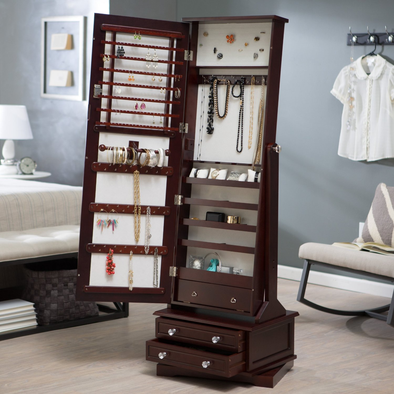 beautiful wooden standing mirror jewelry armoire in dark brown on wooden floor with gray wall for bedroom decor ideas