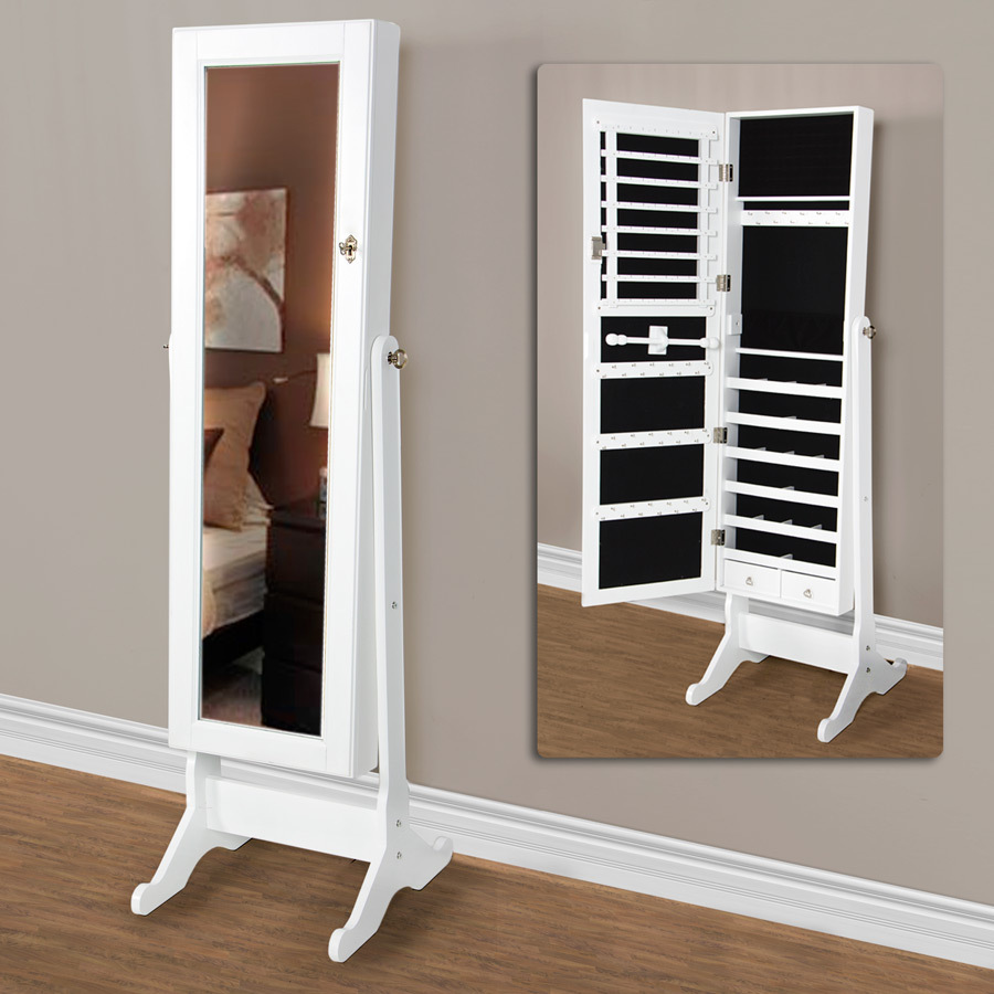 beautiful wooden standing mirror jewelry armoire in white before the gainsboro wall for living room decor ideas