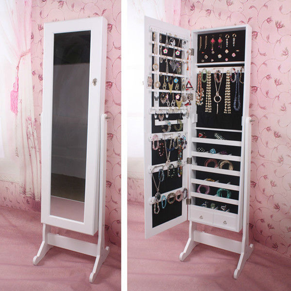 beautiful wooden standing mirror jewelry armoire in white before the pink floral wallpaper for living room decor ideas