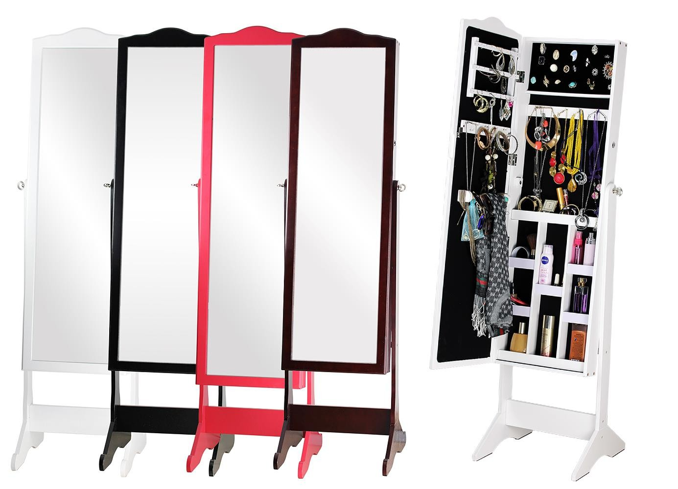 Beautiful Wooden Standing Mirror Jewelry Armoire With Four Option Colors For Home Furniture Ideas