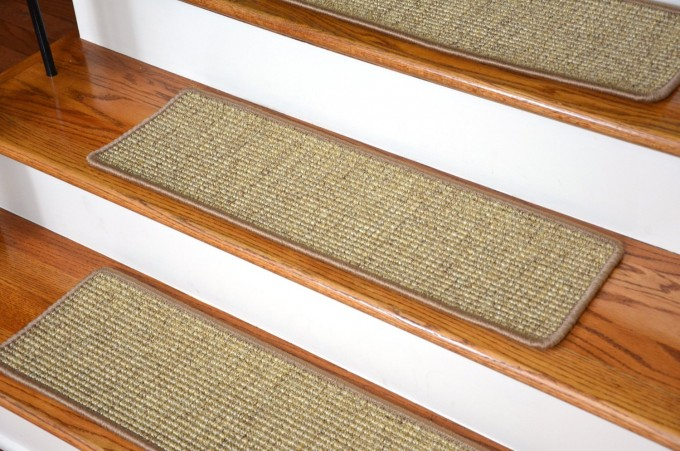 Beige Non Slip Stair Treads On Wooden Steeping Stair For Stair Ideas