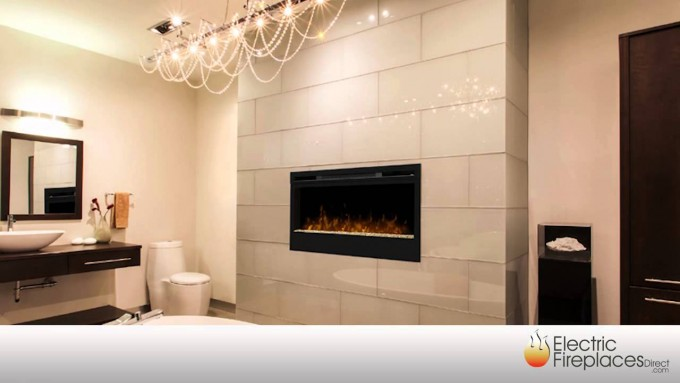 Black Dimplex Electric Fireplaces On White Wall Plus Charming Chandelier For Family Room Ideas