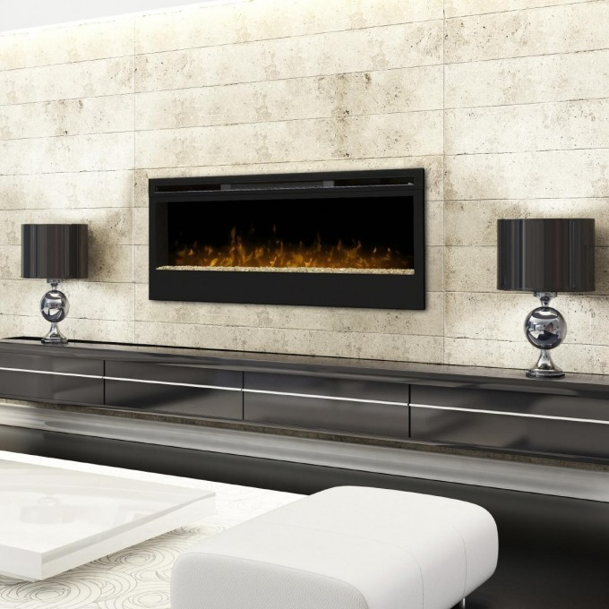 Black Dimplex Electric Fireplaces On White Wall Plus Long Dresser With Double Table Standing Lamp And White Sofa For Family Room Decor Ideas