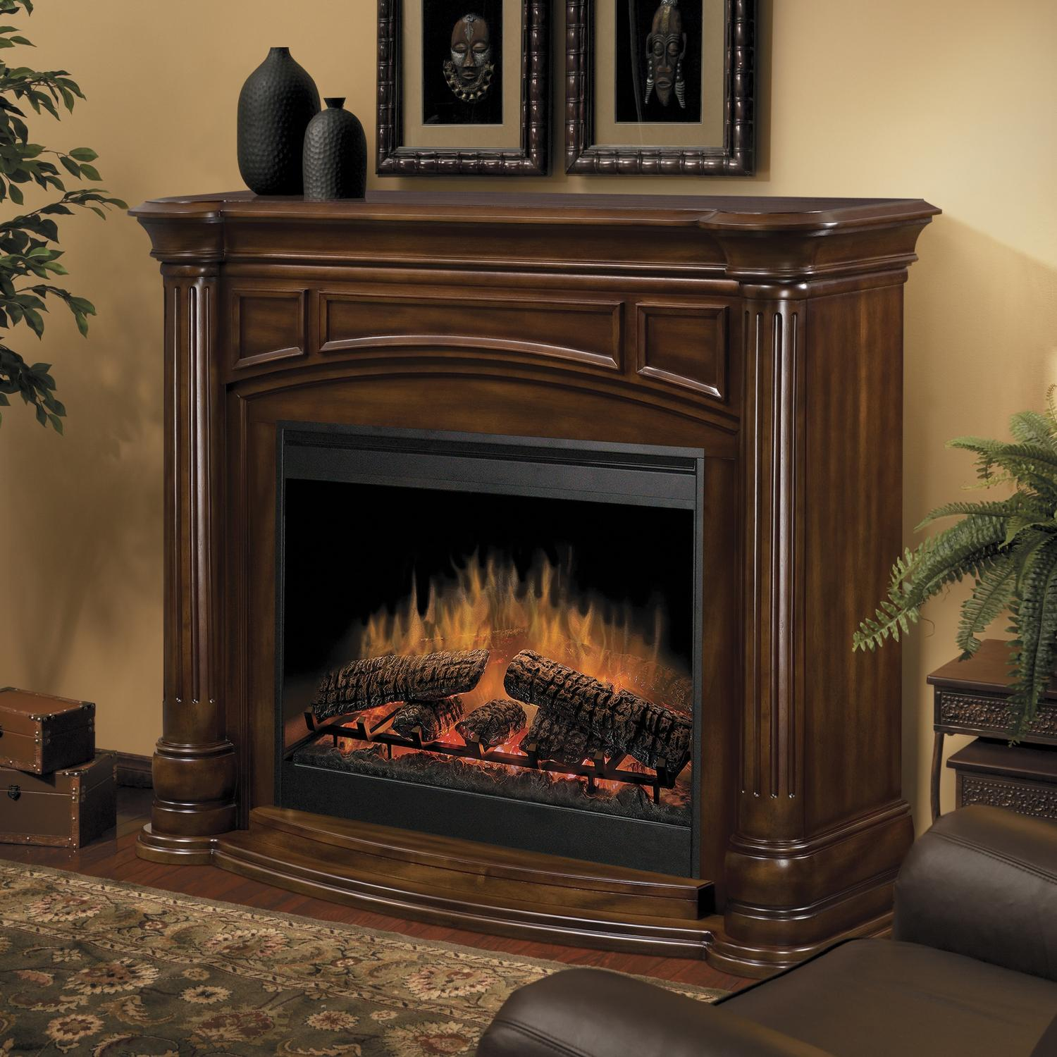 black dimplex electric fireplaces with brown wood mantel kit before the cream wall with picture matched with wooden floor with floral rug for home heatwarming ideas