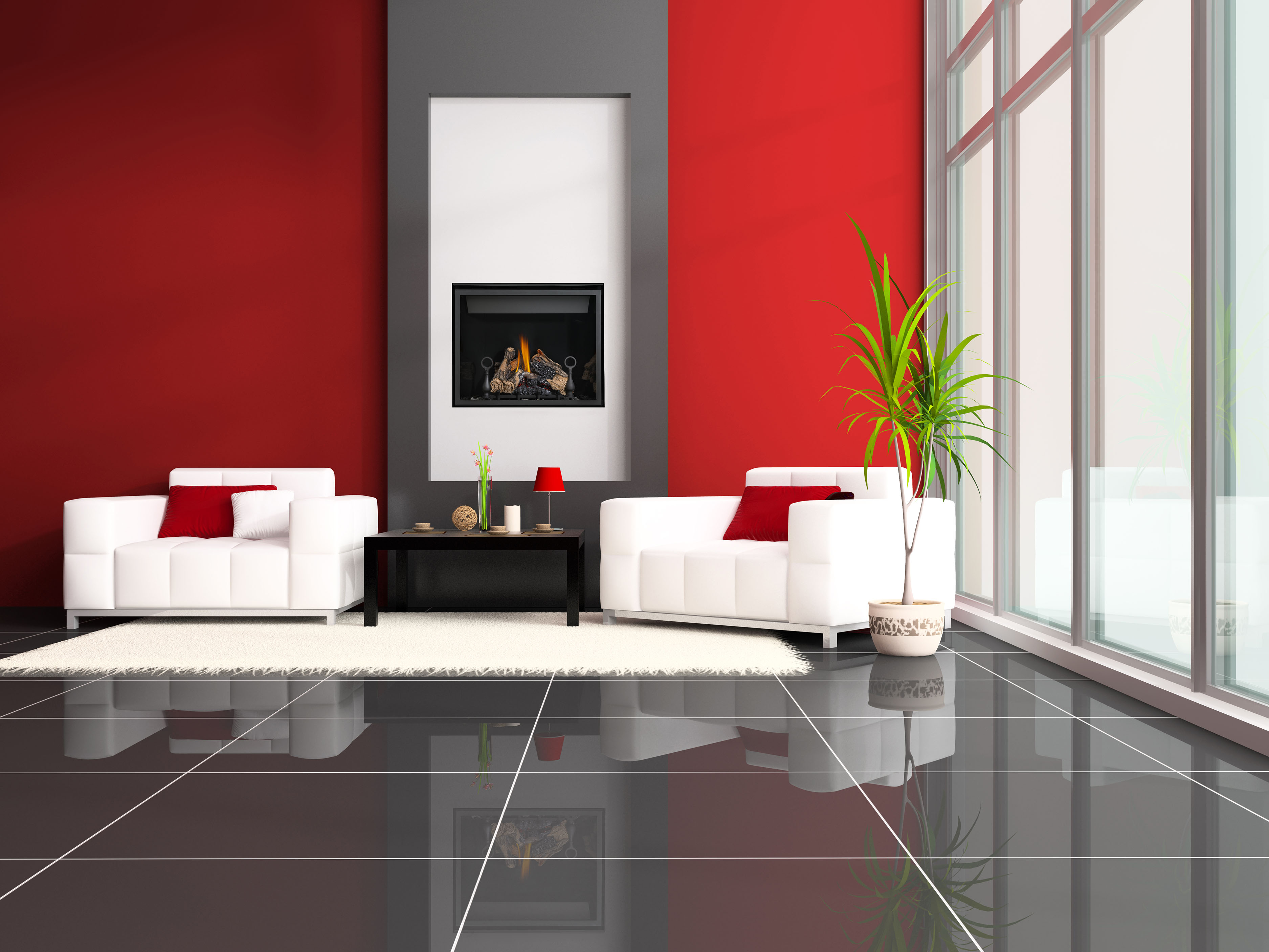 black electric napoleon fireplace with decorative mantel kit matched with red wall plus white sofa set - Decorating Ideas For Living Room With Fireplace