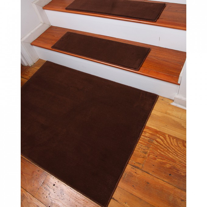 Brown Non Slip Stair Treads On Wooden Stepping Stair For Stair Ideas