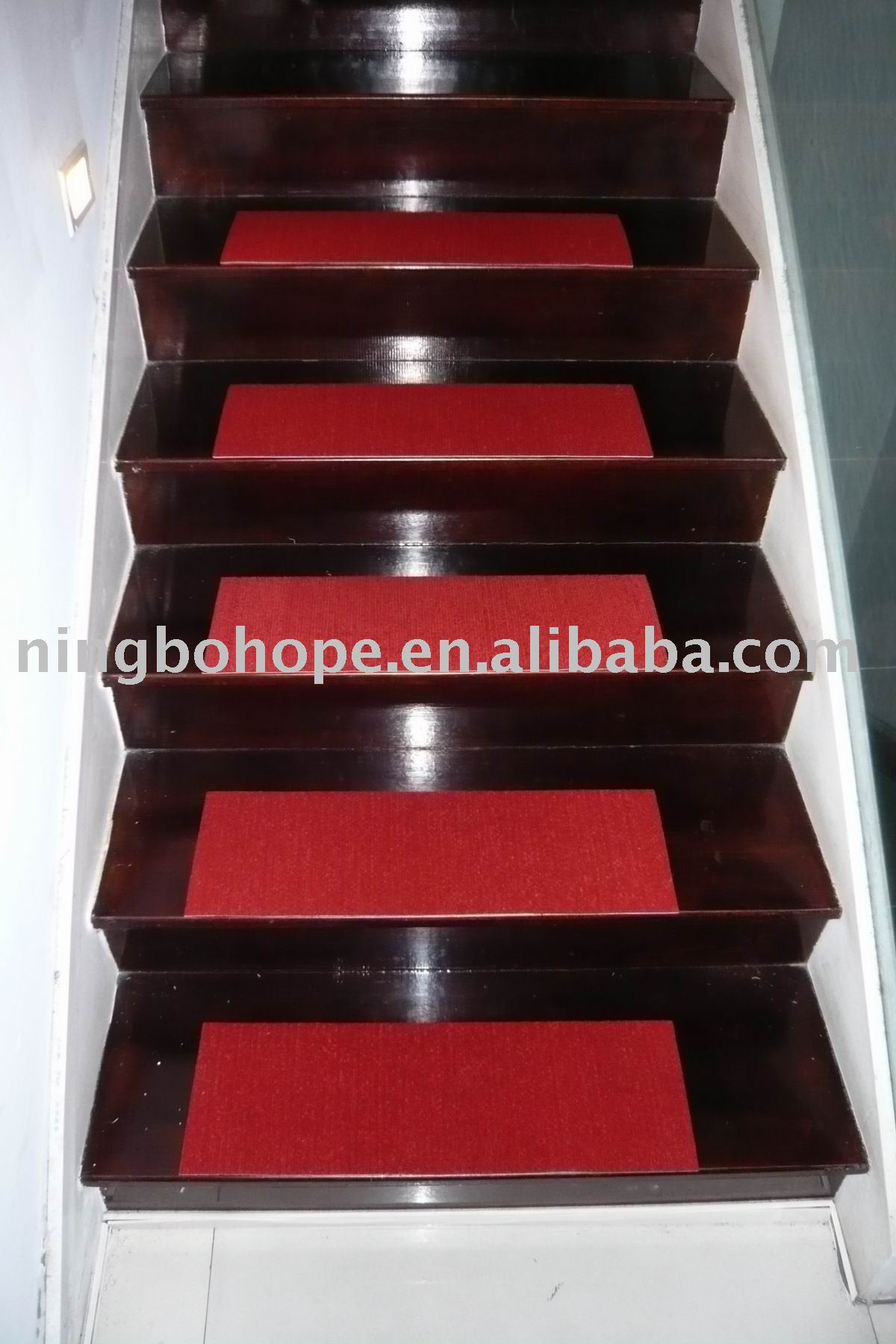 Brown Wooden Stepping Stair With Red Non Slip Stair Treads For Home Ideas