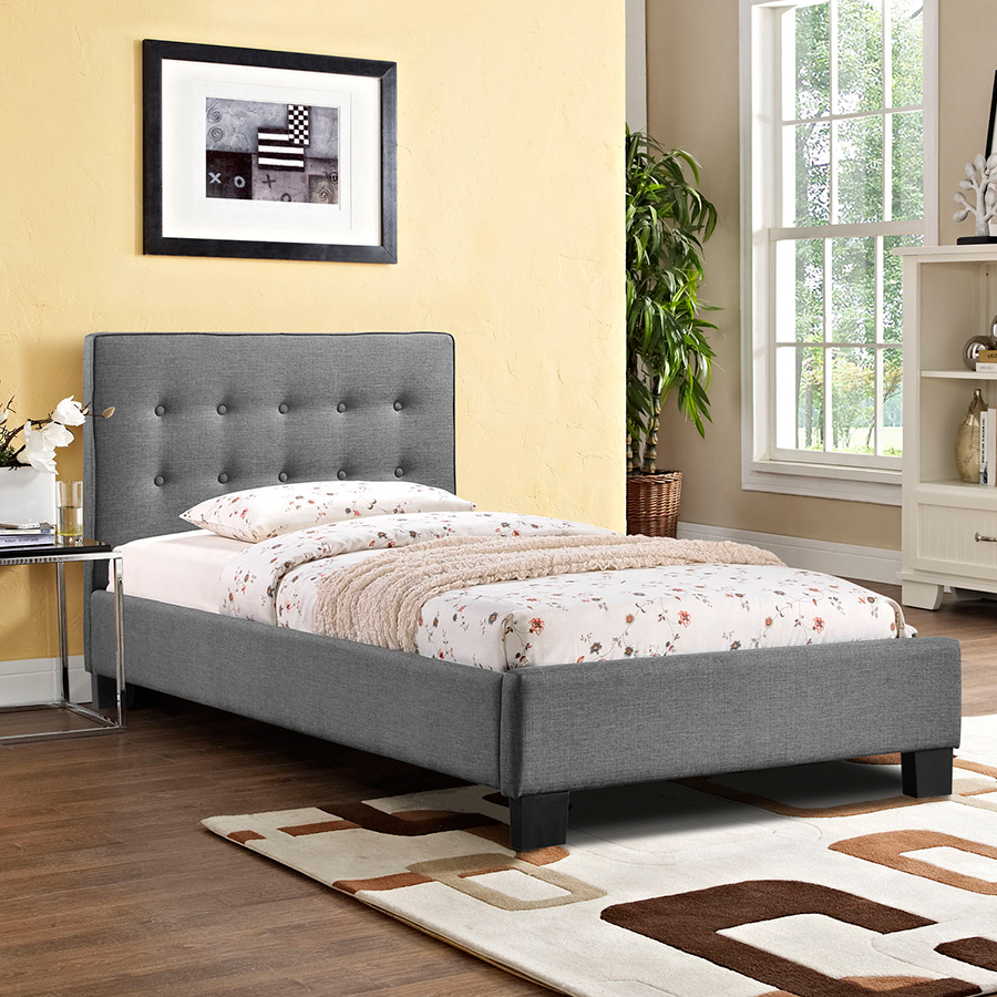 Carter Gray Twin Bed By Eurway Furniture On Wooden Floor With Rug Matched With Yellow Wall For Bedroom Decor Ideas
