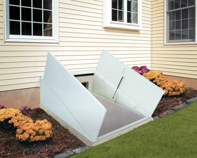 Cellar Bilco Doors In White Before The White Horizontal Siding And White Window For Home Exterior Design Ideas