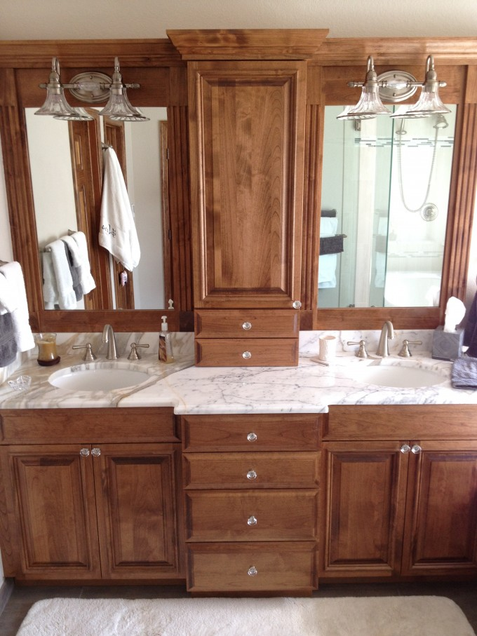 Chaqrming Wooden Bathroom Bertch Cabinets In Brown With Marble Countertop And Double Sinks Plus Faucets And Mirror With Lights For Bathroom Decor Ideas