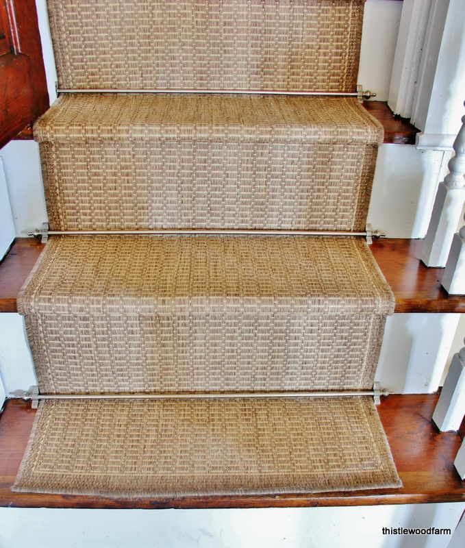 High Quality Charming Beige Non Slip Stair Treads On Wooden Stepping Stair Matched With  White Railing For Home