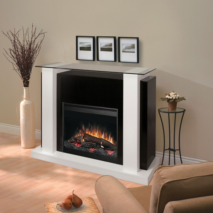 Charming Black Dimplex Electric Fireplaces With Decorative Mantel Kit Before The Gray Wall Matched With Wooden Floor Plus Tan Sofa For Family Room Ideas