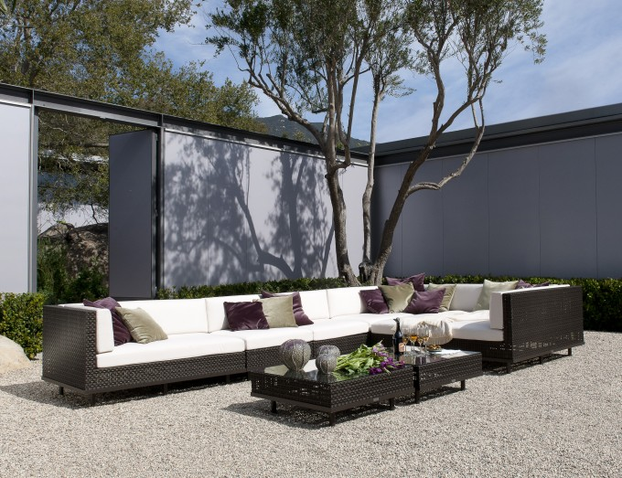 Charming Black Outdoor Sofa With White Cushion And Black Table By Janus Et Cie Outdoor Furniture Plus Cushion For Outdool Living Room Ideas