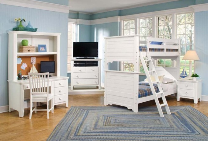 Charming Bunk Beds With Stairs And Dresser Plus Desk In White On Wooden Floor With Blue Rug Matched With Blue Wall For Teen Bedroom Decor Ideas