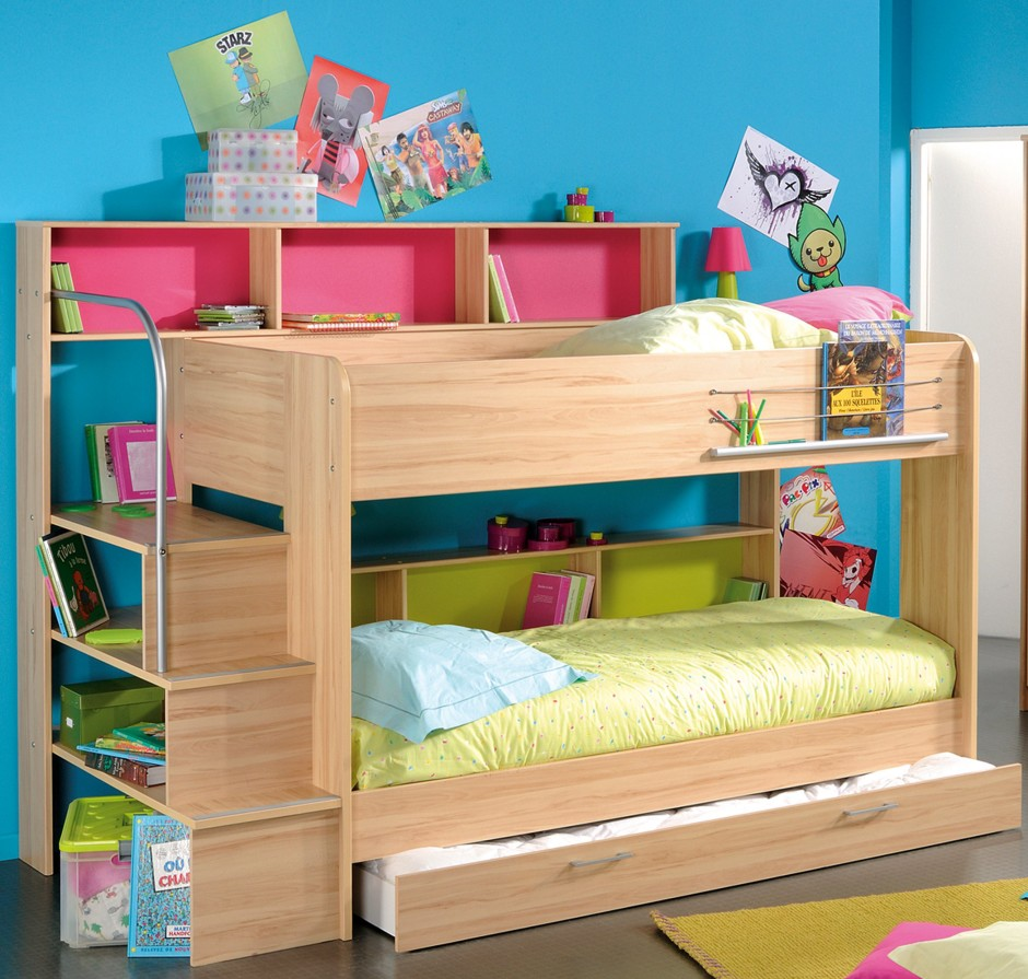charming Bunk Beds With Stairs and storage plus rack before the blue wall matched with gray tile floor with rug for teen bedroom decor ideas