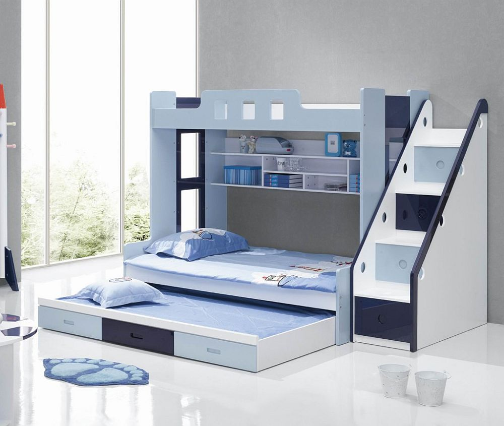 charming Bunk Beds With Stairs in blue and white theme on white tile floor matched with gray wall with glass window for teen bedroom decor ideas