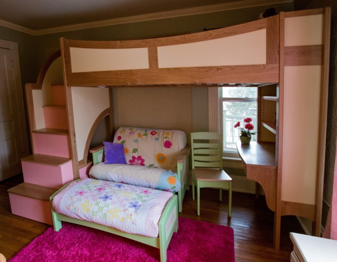 Charming Bunk Beds With Stairs In Brown And Pink Theme With Lovely Sofa Set And Desk On Wooden Floor For Teen Bedroom Decor Ideas