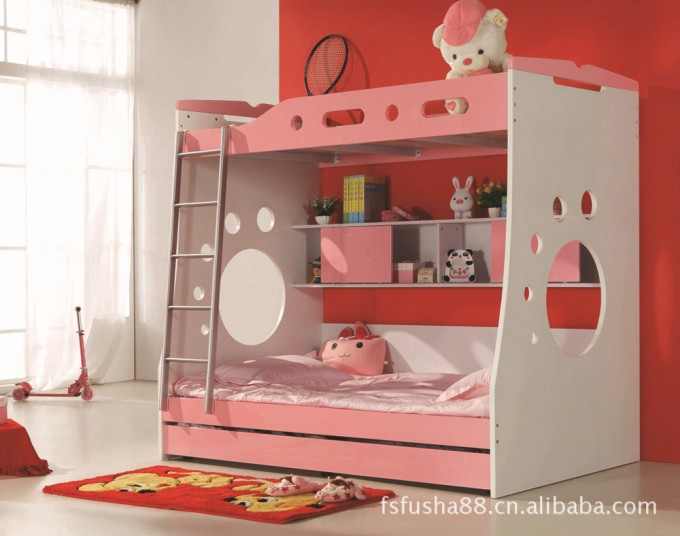 Charming Bunk Beds With Stairs In White And Pink Theme On Beige Tile Floor Matched With Red And White Wall With Window And Curtain For Girl Bedroom Decor Ideas