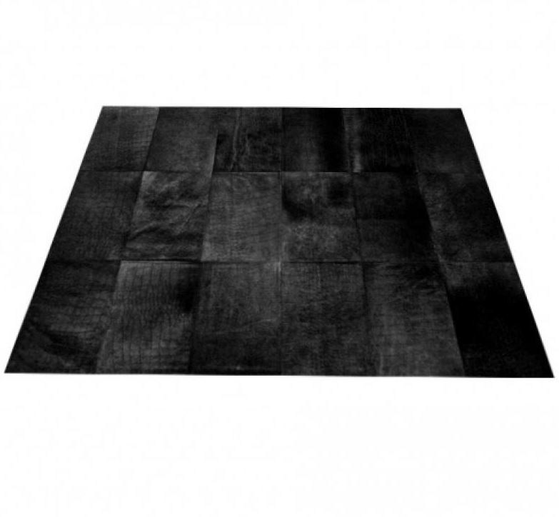 charming cowhide patchwork rug in black with checked motif for floor decor ideas