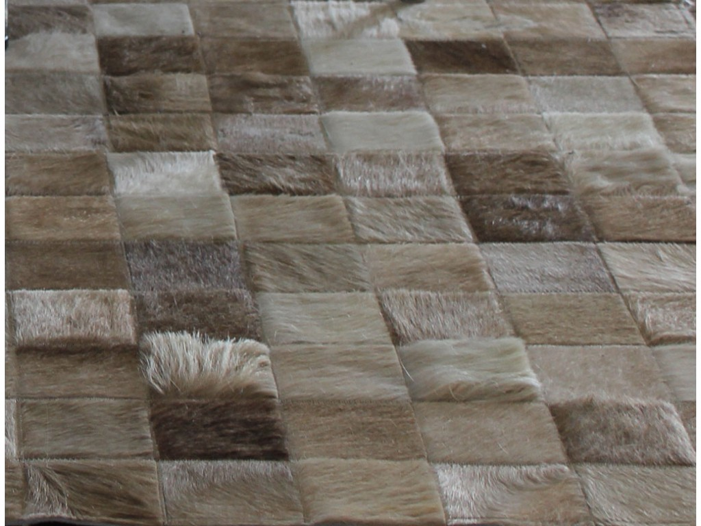 charming cowhide patchwork rug in creamy brown with checked motif for floor decor ideas