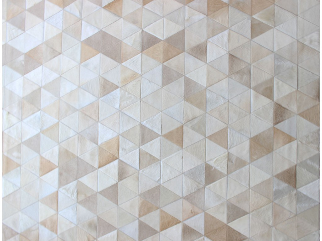 Charming Cowhide Patchwork Rug In Creamy White With Triangle Motif For Floor Decor Ideas