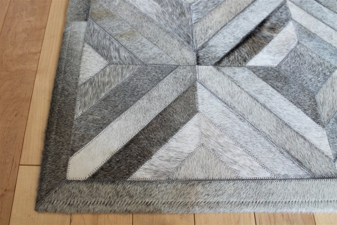 Charming Cowhide Patchwork Rug In Grey With Geometric Diamond Pattern For Floor Decor Ideas