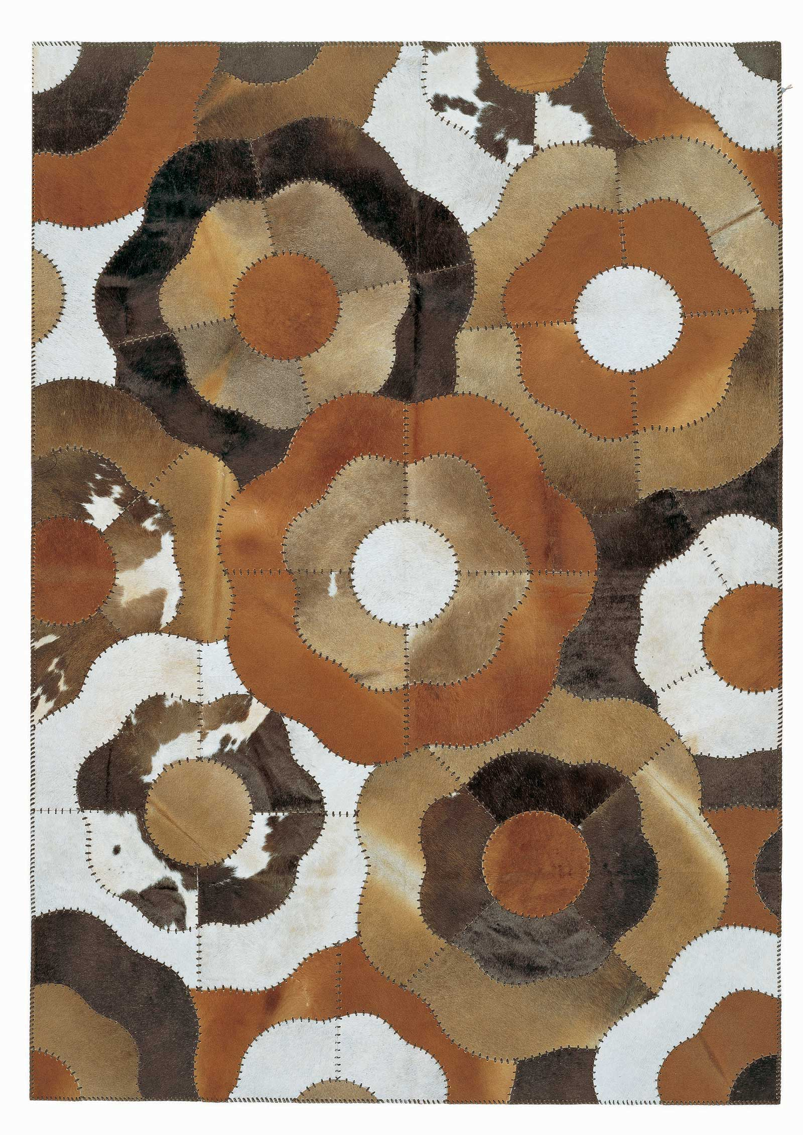 charming cowhide patchwork rug in mixed brindle with floral motif for floor decor ideas