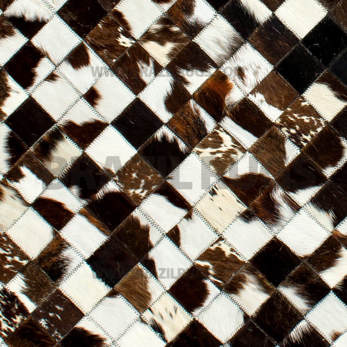 charming cowhide patchwork rug in three color with checked motif for floor decor ideas