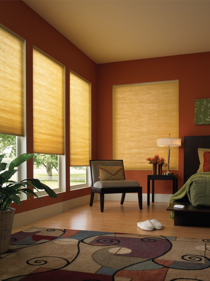 Charming Cream Levolor Cellular Shades On Glass Door Plus Orange Wall Matched With Wooden Floor For Room Design Inspiration