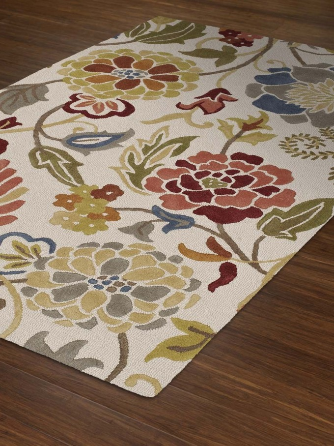 Charming Dalyn Rugs In White Base Color And Floral Pattern For Floor Decor Ideas