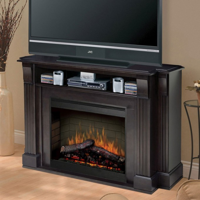 Charming Dimplex Electric Fireplaces With Black Mantel Kit Under The Tv And Dvd Set For Family Room Decor Ideas