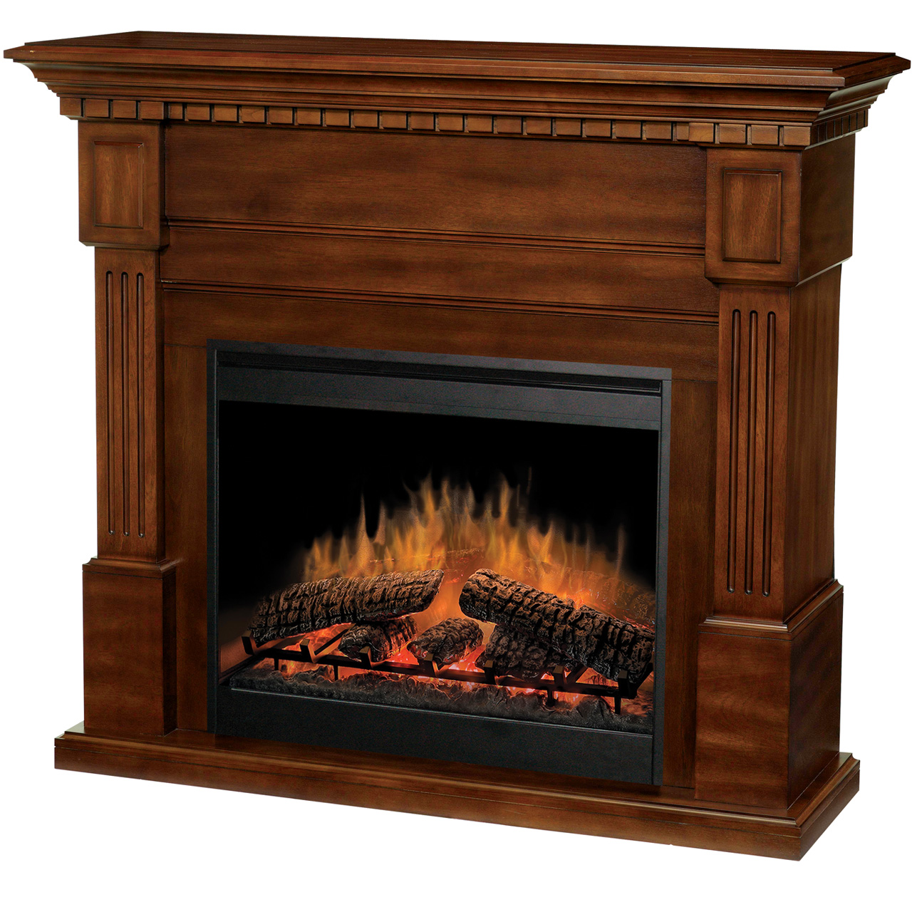 Decorating: Charming Dimplex Electric Fireplaces With Brown Wood Mantel Kit For Heatwarming Ideas