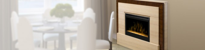 Charming Dimplex Electric Fireplaces With Wood Mantel Kit Near The White Dining Table Set For Dining Room Decor Ideas